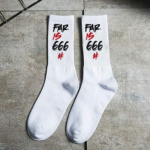 XINGRUI Socken-Straße Skateboard Socken College-Letters Sport Cotton Lustige Socken, Größe: One Size (Weiß Rot) (Farbe : White Red, Größe : One Size)