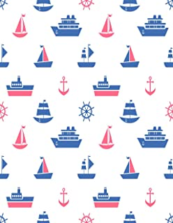 Eaiizer Poster Wall Art Print Anchor with Blue and Red Sea Transport Raster Boat Boy Clip Collection Cruise 24x36 Inches Artwork for Home Bedroom Decor
