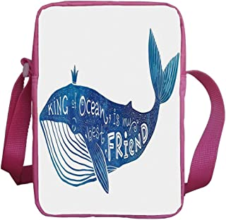 Whale Stylish Kids Crossbody Bag,Kind of Ocean is My Best Friend Quote with Whale Fish Paintbrush Artsy Picture for Girls,9