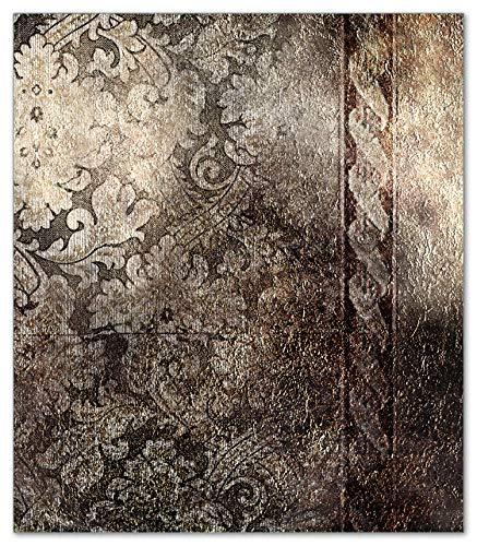 Wallario Herdabdeckplatte/Spritzschutz aus Glas, 1-teilig, 52x60cm, für Ceran- und Induktionsherde, Schnörkelmuster in Dunkelbraun