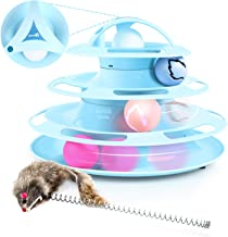Pecute Juguete para Gatos con Diseño de Torre con 4 Pelotas de 4 Niveles,con Catnip Bola y Palo Divertido de Forma Ratón,Antideslizante y Facil de Desmontar