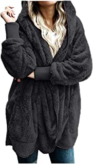 Women's Winter Thermal Shaggy Coat Jacket Parka Outwear Ladies Fuzzy Long Cardigan Jumper Tops with Pockets