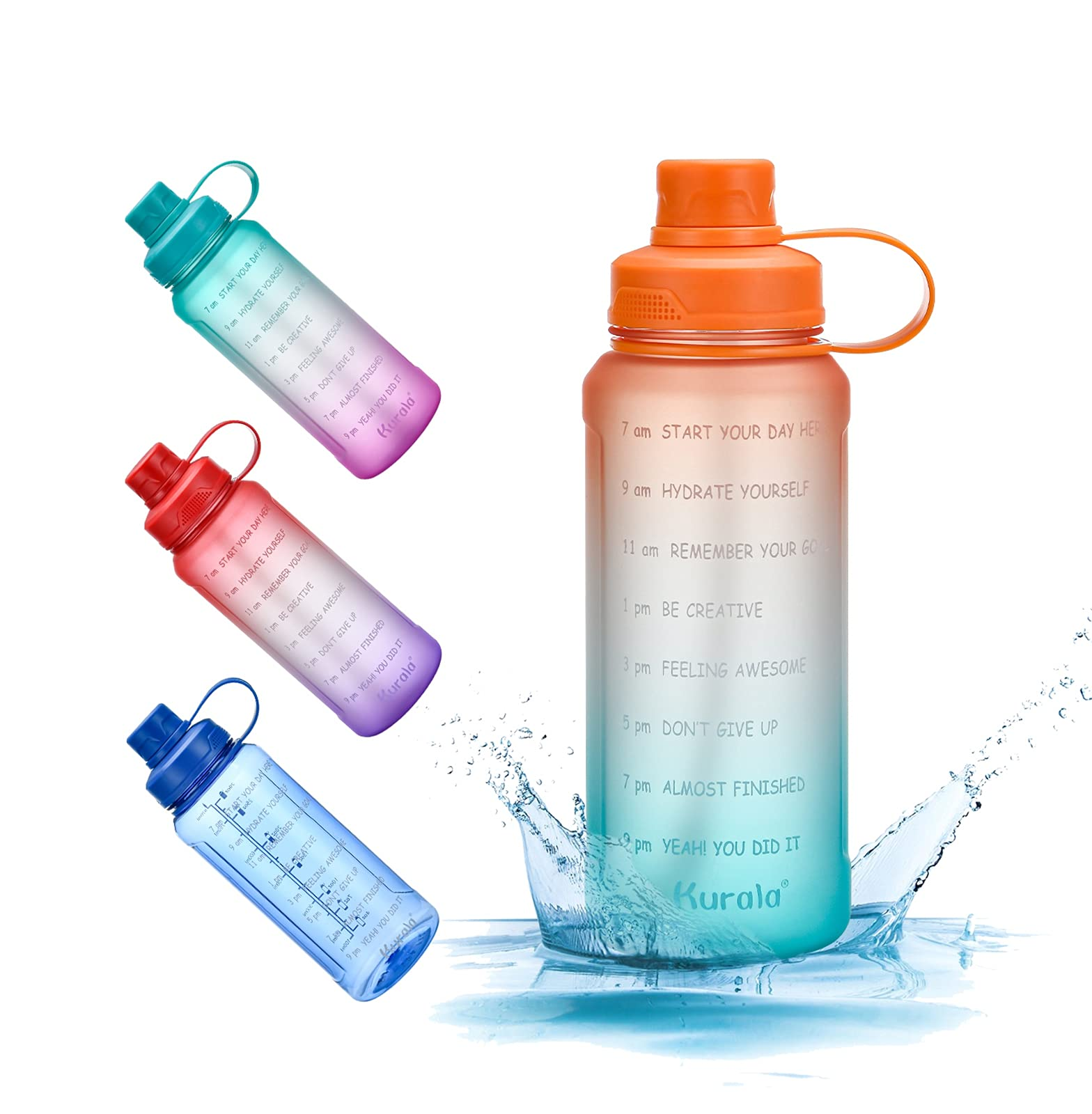 32 oz Motivational Water Bottle with Time Marker Reminder & Straw, Leak-proof No BPA Hydration Sports Daily Water Bottle Jug for Fitness Gym Outdoor Sports Activity (Orange Green Gradient)