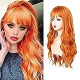 MEIRIYFA Peluca larga ondulada naranja con flequillo para el traje de las mujeres peluca completa sintética para cosplay fiesta uso diario