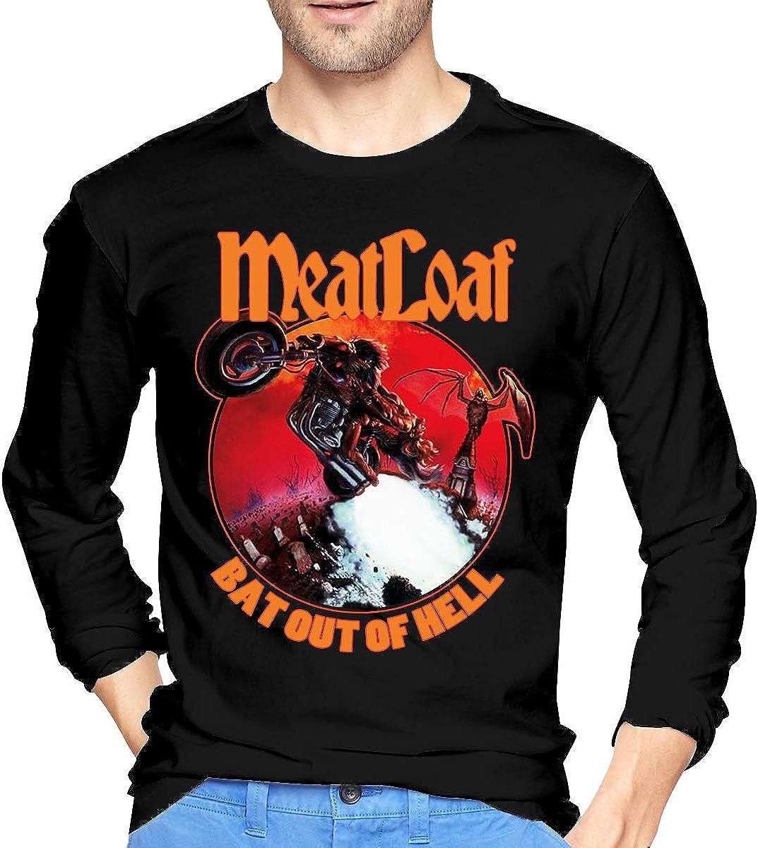 Ropa Deportiva Camisas Casual Mens Meat Loaf Band Bat out of Hell Long Sleeve Tshirts Black Hombre Camisetas de Manga Larga