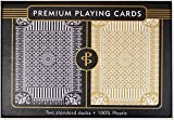 Black & Gold Premium Plastic Playing Cards, Set of 2, Poker Size Deck