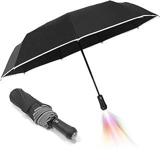 Auto Compact Umbrella Led Light-9k Fiberglass Ribs With Flashlight Handle Reflective Safety Tape For Men Women(Black)