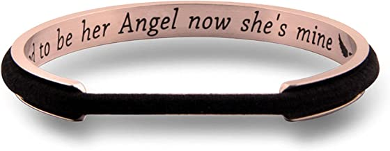 WUSUANED Memorial Mom Gifts I Used to Be Her Angel Now She's Mine Hair Tie Grooved Cuff Bangle Bracelet in Memory of Loved One Mom