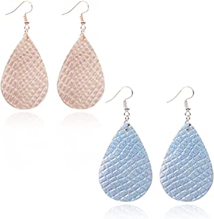Teardrop Leather Earrings Soft and light Genuine Leather Teardrop Earrings Leaf Drop Earrings Antique Looking Various Colors 2 Pairs Pack for women