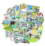 SUNYU 50 Uds Medio Ambiente Pegatina Verde protección de Regalo promoción de la Tierra Pegatina Impermeable de Dibujos Animados para niños DIY Bicicleta portátil Coche calcomanía