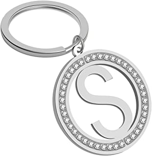 Giftale Girly Letter S Keychain Personalized Rhinestone Initial Pendant Bag Charm Alphabet Key Ring with Ball Chain Necklace