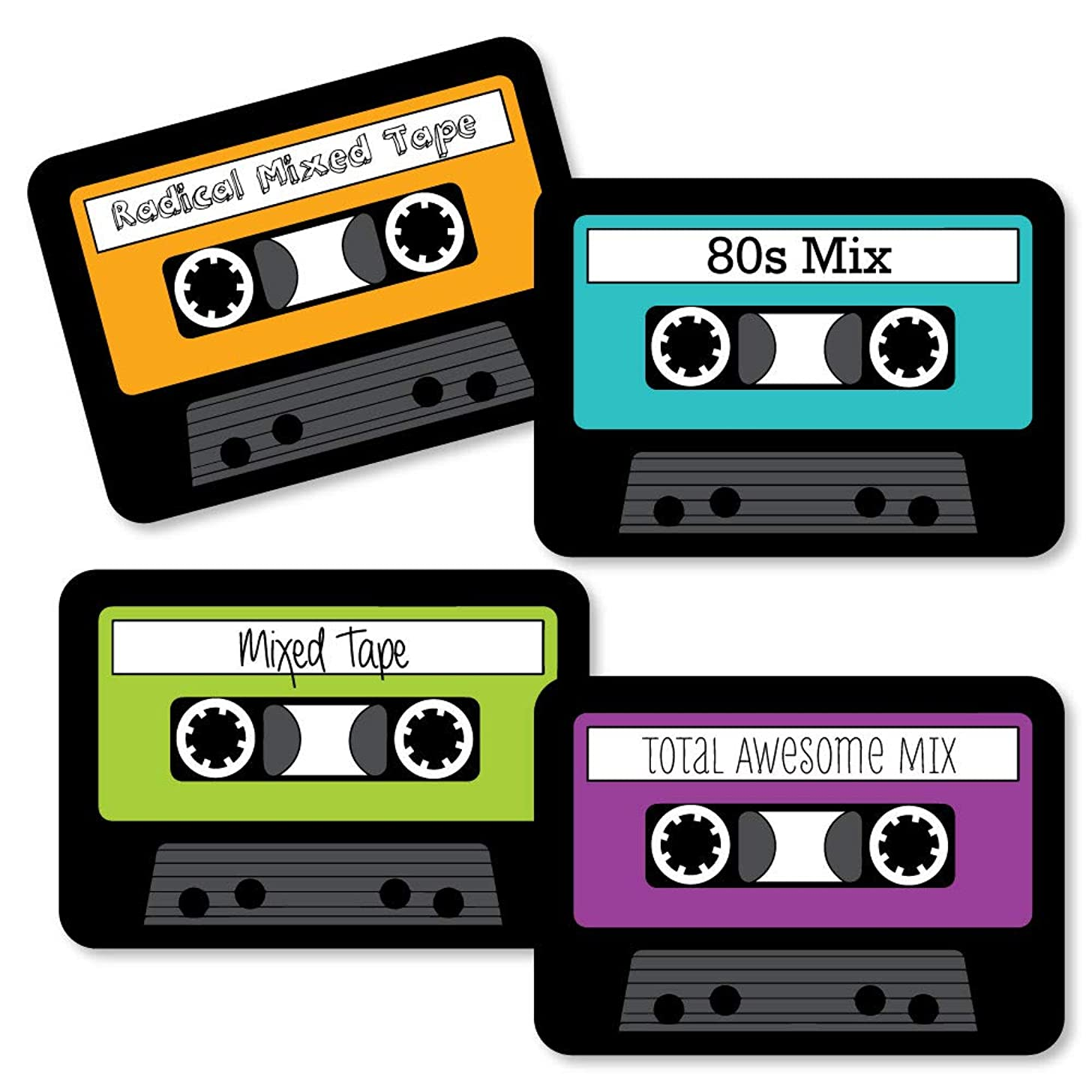 80's Retro - Paper Cassette Tape DIY Totally 1980s Party Essentials - Set of 20