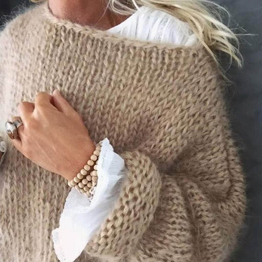 Grobstrick LAOLEE Damen-Pullover lang/ärmelig flauschiges Mohair