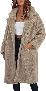 LUKEEXIN Women's Long Fluffy Coat Casual Loose Lapel Pocket Open Front Winter Coat