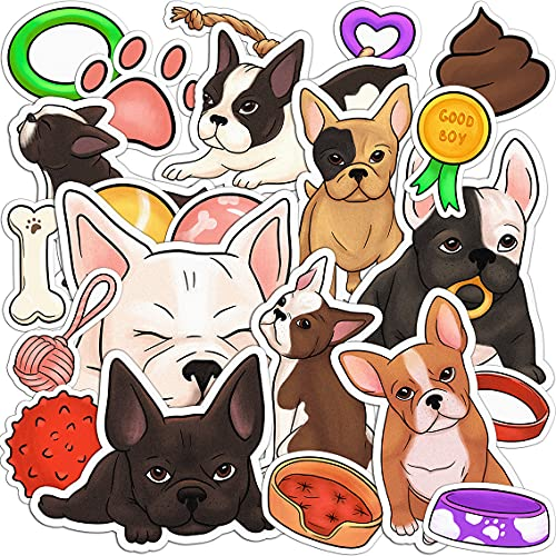 Lex Altern 22 PCS Sticker Pack for Laptop Cute French Bulldog for Planner Decals for Bike Vinyl Waterproof for Notebook for Water Bottles Set Dogs Frenchie Puppy Stationery