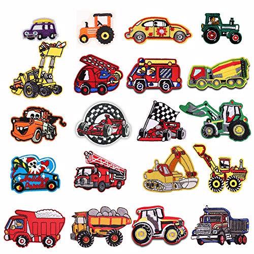20 parches para tractor/autobús/coche de carrera/vehículo de ingeniería/camión de bomberos/coche/aplique para planchar...