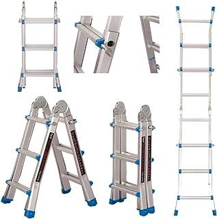 EQUAL Dual Built 10 Feet Aluminium Portable & Multipurpose Folding Ladder for Home & Industrial Use; 4 x 3 Steps