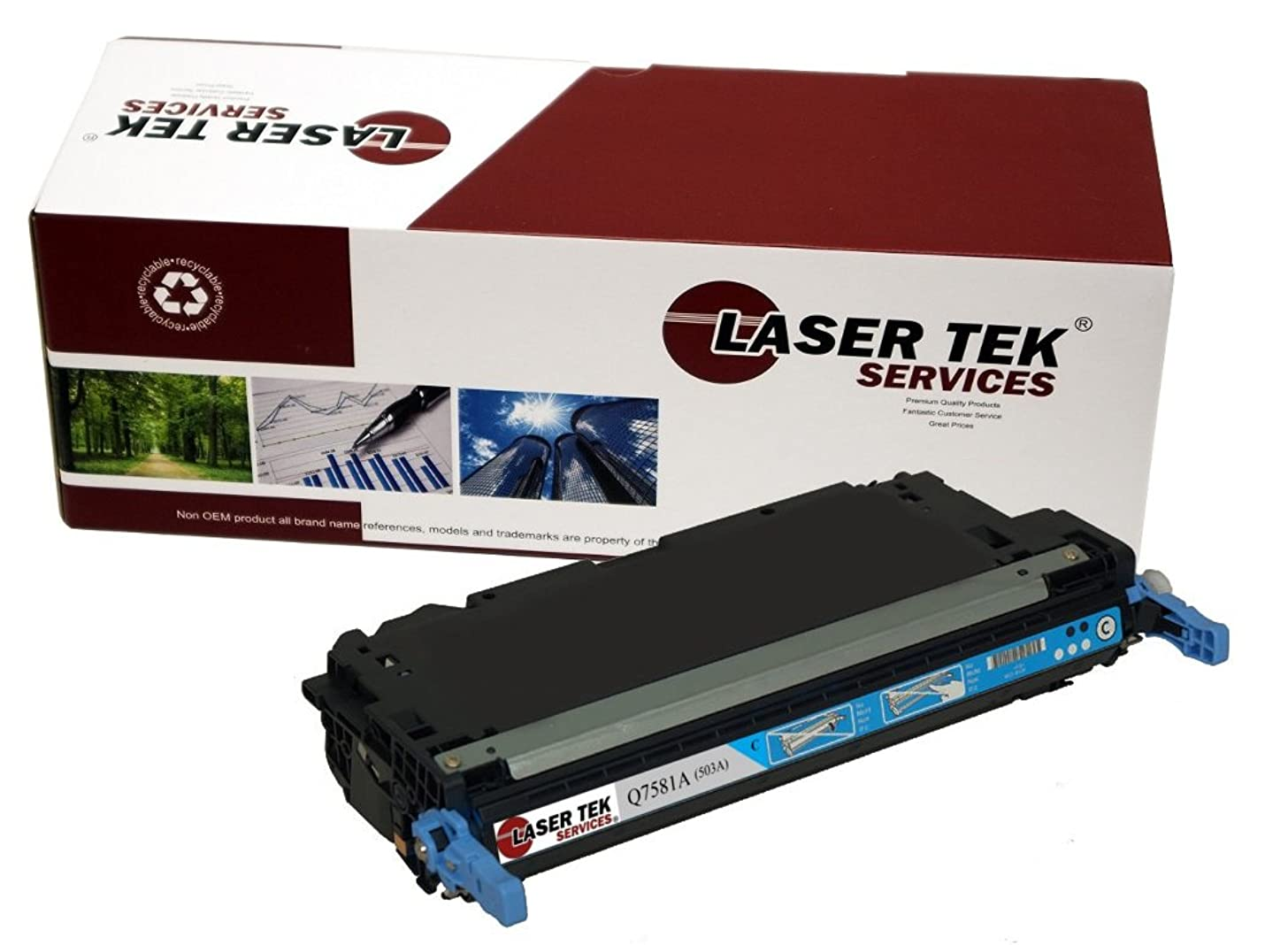 Laser Tek Services Compatible Toner Cartridge Replacement for HP 503A Q7581A (Cyan, 1-Pack)