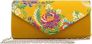 Womens Cute Small Flower Embroidered Silklike Velvet Clutch Evening Bag Ethnic Party Handbag