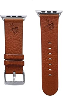 Game Time Minnesota Vikings Tan Leather Band Compatible with Apple Watch - 42mm/44mm Long