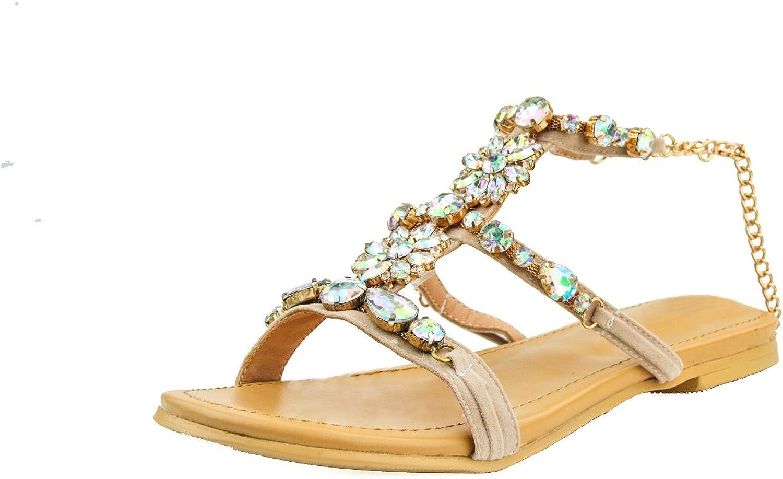 Kolnoo Damen BFCM Handgemachte Strass Kette Kette Kette Deco Flats Sandalen Schuhe  154b89