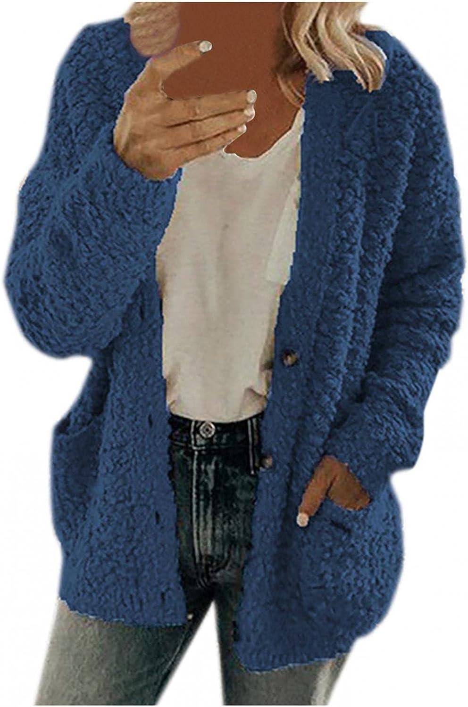 Oiumov Womens Cardigans Oversized Zip Up Hoodie Fluffy Fleece Hoodies Cardigan Sweaters Winter Jacket Coat Sweatshirt