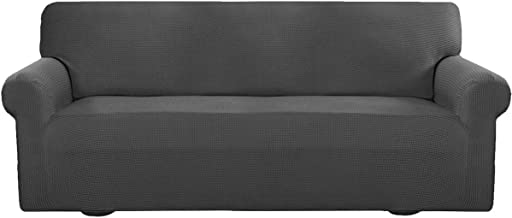 Easy-Going Stretch Sofa Slipcover 1-Piece Sofa Cover Furniture Protector Couch Soft with Elastic Bottom Anti-Slip Foam Kids, Spandex Jacquard Fabric Small Checks(Sofa,Dark Gray)
