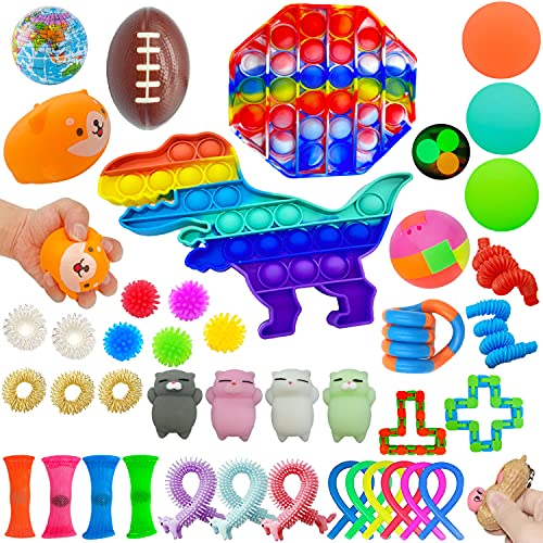 Sensory Fidget Toys Pack, 42 Pack Fidget Pop Toys Sensory Squeeze Toys Relieves Stress and Anti-Anxiety Special Therapy Toys Fidget Hand Toys for Autistic Kids Adult Birthday Gift Party Favors