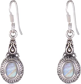 Silverwala 925-92.5 Sterling Silver Rainbow Moonstone Earring Fashion Dangle and Drop Earring for Women and Girls