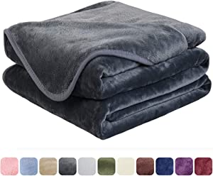 EASELAND Soft Queen Size Blanket All Season Warm Microplush Lightweight Thermal Fleece Blankets for Couch Bed Sofa,90x90 Inches,Dark Gray
