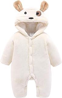 Bebé Mono con Capucha Mameluco de Franela para Niñas Invierno Pijama Pelele para 0-12 Meses Beige 3-6 Meses