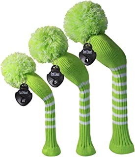 Scott Edward Golf Club Covers Set of 3 Cutest Pom Pom Knit Covers was The Perfect Change for Golf Bag Fit Over Well Driver Wood(460cc) Fairway Wood and Hybrid(UT)