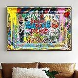 KWzEQ Leinwanddrucke Big Dream Slogan Gekritzel Poster und
