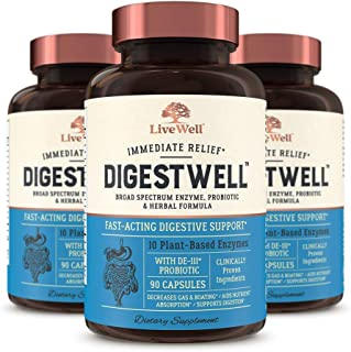 DigestWell Immediate Relief - Fast-Acting Digestive Support | Broad Spectrum Enzyme, Probiotic & Herbal Formula - Decreases Gas & Bloating - 270 Capsules