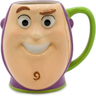 Silver Buffalo TO13083D Toy Story Buzz Lightyear Playtime Face Ceramic 3D Sculpted Mug, 23-ounces, White/Green
