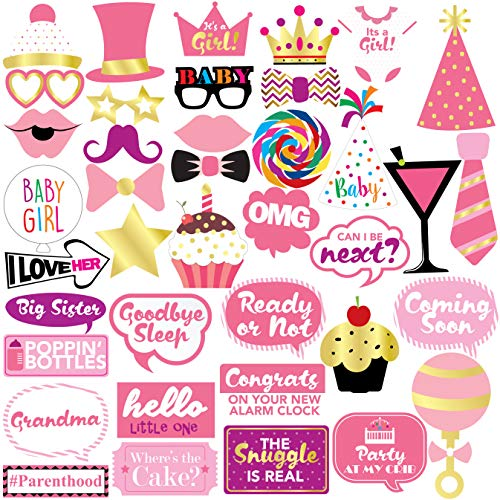 Sterling James Co. Baby Shower Girl Photo Booth Props - 40 Pieces - Baby Shower Decorations, Gifts, Favors and Supplies for Girl - Pregnancy Announcement - Gender Reveal Party