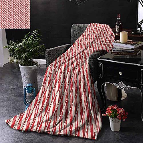 GGACEN bont gooien deken Rood Kerstmis Snoepjes Patroon met Diagonale Strepen Traditionele Winter Sweets Zachte en comfortabele slaapbank