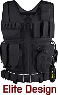 GLORYFIRE Tactical Vest Airsoft Tactical Vest 1000D Cordura Fabric Detachable Pistol Holster for Adult Adjustable Lightweight Breathable Training Combat Vest