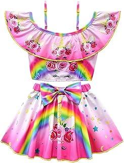 CLanItris Two-Piece Girls' Off Shoulder Unicorn Swimsuit Ruffle Top Tankini Bathing Suit Swimwear