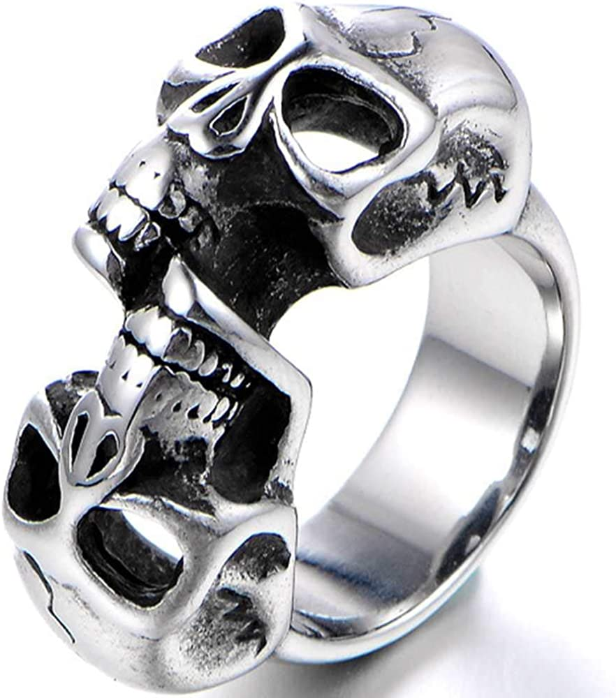 Jude Jewelers Retro Vintage Gothic Stainless Steel Double Skull Cocktail Party Biker Statement Ring