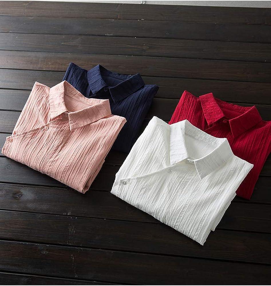 MinibeeWomen'sTunicBlouseTopButtonDownTexturedLongSleeveShirt