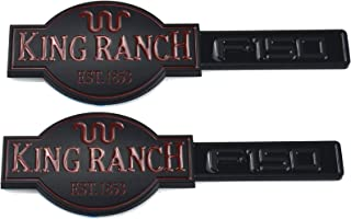 2pcs King Ranch F150 Emblems, 3D Badges Nameplate Door Tailgate Replacement for Black/Red