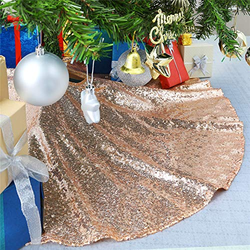 Sequin Tree Skirt 24inch Rose Gold Small Christmas Tree Skirt Round Embroidered Sparkly Xmas Tree Ornament Decorations