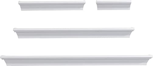 Melannco Floating Wall Mount Molding Ledge Shelves, Set of 4, White