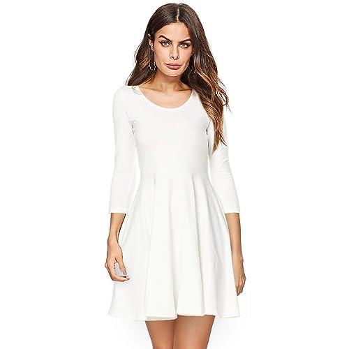 18a53c0cab Amoretu Womens Bell Sleeve Tunic Dress Casual V Neck Ruffle Swing Shift  Dresses