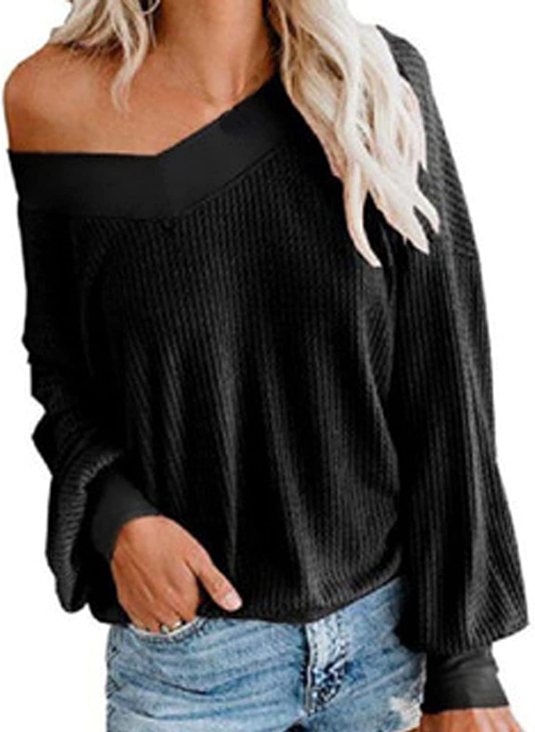Autumn Christmas Waffle Knitted Long Sleeve Tops for Women,Solid Skew Collar Off Should Sweater Shirt Soft Pullover