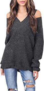 Womens Fall Clothes Cold Shoulder Cable Knit Loose Pullover Sweater Long Sleeve V-Neck Blouse Tunic Tops