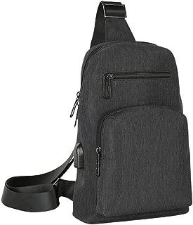 Men's Fashion Chest Bag, Casual Shoulder Bag, USB Charging Sports Slung Small Backpack,Black