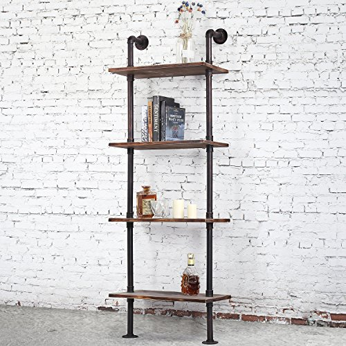 MyGift 4-Tier Brown Wood & Industrial Style Metal Pipe Wall-Mounted 26-Inch Wide Shelves/Bookcase Utility Storage Rack