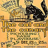 Poster for Federal Theatre Project presentation of The Cat and the Canary at the Pickering Park Playhouse San Bernardino Calif showing a cat with a devilish face looking at a canary in a birdcage Post